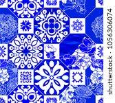 classic azulejos tile  indigo... | Shutterstock .eps vector #1056306074