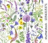 hand drawn floral seamless... | Shutterstock . vector #1056315371