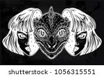 portriat of the reptilian alien ... | Shutterstock .eps vector #1056315551