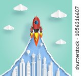 paper art style of rocket... | Shutterstock .eps vector #1056316607