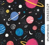 space pattern with stars ...   Shutterstock . vector #1056323129