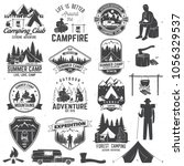 set of summer camp badges with... | Shutterstock .eps vector #1056329537