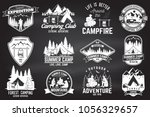set of summer camp badges on... | Shutterstock .eps vector #1056329657