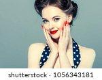 vintage pin up woman portrait.... | Shutterstock . vector #1056343181