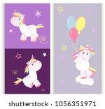 cute unicorn baby card vector... | Shutterstock .eps vector #1056351971