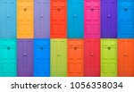 colourful english doors | Shutterstock . vector #1056358034