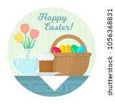 easter still life with festive... | Shutterstock .eps vector #1056368831