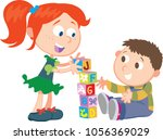 sister and brother playing with ... | Shutterstock .eps vector #1056369029
