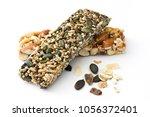 muesli bars isolated on white... | Shutterstock . vector #1056372401