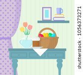 easter flat vector illustration.... | Shutterstock .eps vector #1056373271