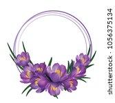 crocus flower wreath isolated...   Shutterstock .eps vector #1056375134