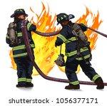 firefighters drag the hose...   Shutterstock .eps vector #1056377171