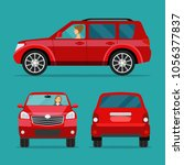 red car two angle set. car with ... | Shutterstock .eps vector #1056377837