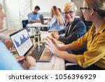 group business people meeting... | Shutterstock . vector #1056396929