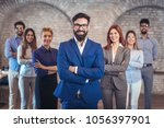 group of happy business people... | Shutterstock . vector #1056397901