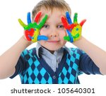 smiling boy with the palms... | Shutterstock . vector #105640301