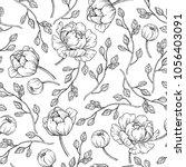 peony flower seamless pattern...   Shutterstock .eps vector #1056403091