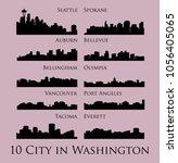 set of 10 city silhouette in... | Shutterstock .eps vector #1056405065