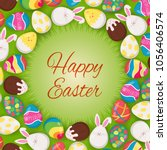 colorful easter eggs on the... | Shutterstock .eps vector #1056406574