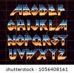 alphabet 80's retro font.vector ... | Shutterstock .eps vector #1056408161