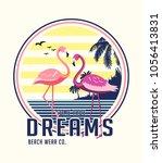 vector design with flamingo... | Shutterstock .eps vector #1056413831