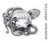 giant octopus attacking ship... | Shutterstock .eps vector #1056417131