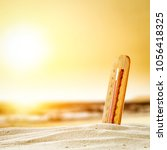 summer thermometer on beach and ... | Shutterstock . vector #1056418325