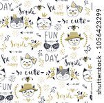 fashion cat seamless pattern.... | Shutterstock . vector #1056423299