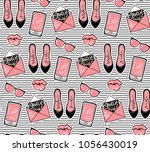 fashion background with stylish ...   Shutterstock . vector #1056430019