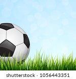 soccer ball with green grass | Shutterstock .eps vector #1056443351
