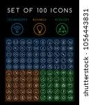 set of 100 minimal white stroke ... | Shutterstock .eps vector #1056443831