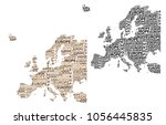 sketch europe letter text... | Shutterstock .eps vector #1056445835