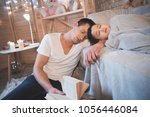 father was reading fairy tales... | Shutterstock . vector #1056446084