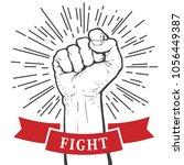 fist hand  protest symbol.... | Shutterstock .eps vector #1056449387