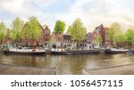 canals of amsterdam. moody... | Shutterstock . vector #1056457115