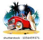 vector cartoon retro camper... | Shutterstock .eps vector #1056459371