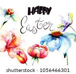 beautiful flowers with title... | Shutterstock . vector #1056466301