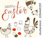 funny chickens and rooster ... | Shutterstock .eps vector #1056469259