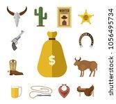 wild western vector cowboy...   Shutterstock .eps vector #1056495734