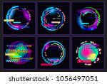 glitched  oval's frame design...   Shutterstock .eps vector #1056497051