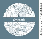 smoothie and ingredients for... | Shutterstock .eps vector #1056501494