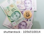 gold bitcoin with actual... | Shutterstock . vector #1056510014