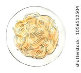 spaghetti. pasta painted... | Shutterstock . vector #1056512504