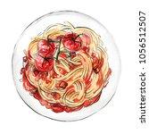 spaghetti. pasta painted...   Shutterstock . vector #1056512507