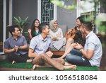 young happy friends having... | Shutterstock . vector #1056518084