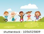 children's characters. jumping... | Shutterstock .eps vector #1056525809