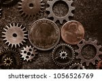 coins and metal gears on grunge ... | Shutterstock . vector #1056526769