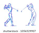 Golfer Swing On Golf Course.