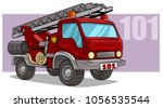 cartoon red emergency rescue... | Shutterstock .eps vector #1056535544