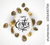 happy easter lettering... | Shutterstock .eps vector #1056540704